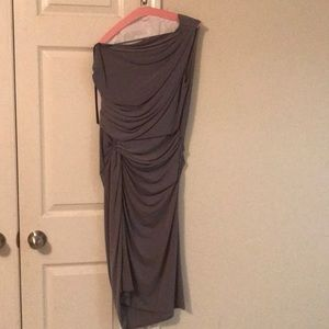Gray one-shoulder party dress, size 14